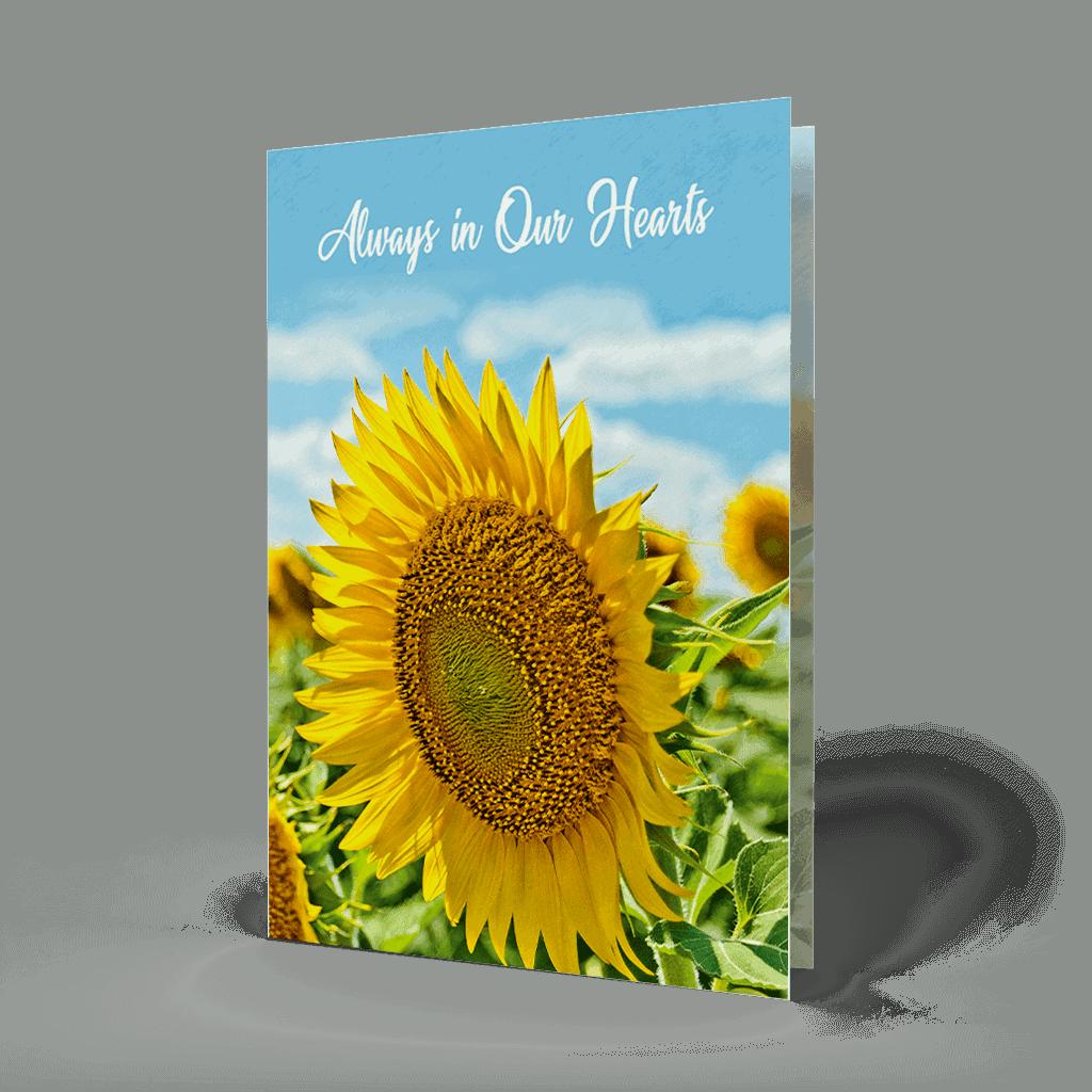 sunflower memorial card