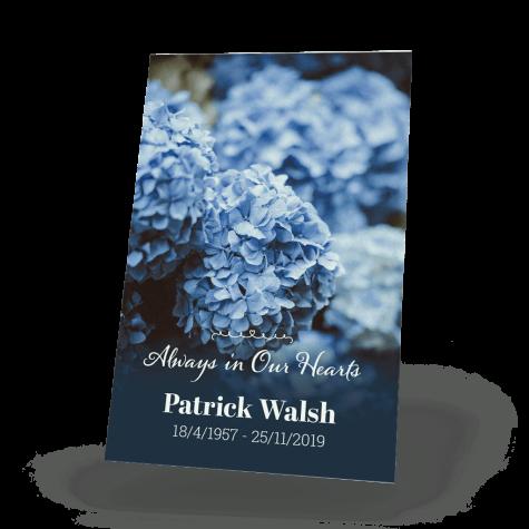 floral memorial wallet card