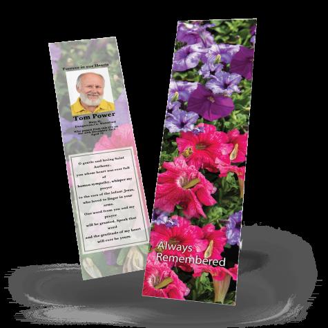 Red & Purple Flowers Memorial Bookmark