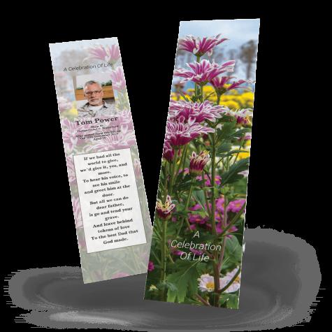 Purple Flowers Memorial Bookmark